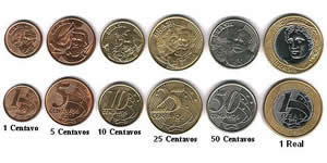 Brazilian currency in coins